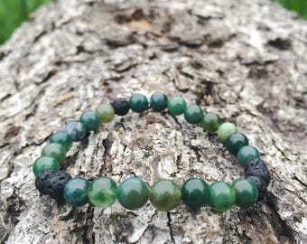 Moss Agate with Lava Rock 6mm Bracelet