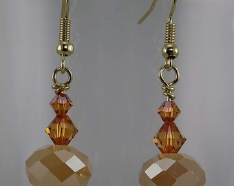 Honey colored, Swarovski crystals, gold, sparkling beads