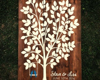 120 Leaves Rustic Wood Tree Guest Book with Birds on Swing | White on Wood | Guest Book Alternative