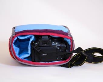 Shockproof Padded Insert - DSLR Camera Case - Camera Bag Partition - Protection Case - Photo Bag Insert - JuCase Claret/Blue