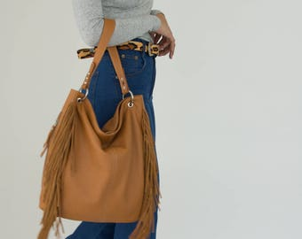 Brown Fringed handbag, Brown Hobo bag, Brown leather bag, everyday brown purse, large leather purse, large shoulder bag, brown purse fringes