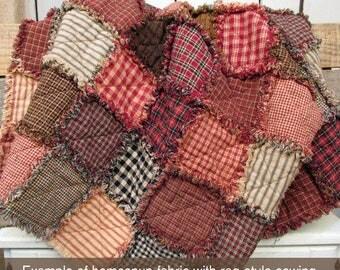 Farmhouse Red Ragged Homespun Quilt Kit