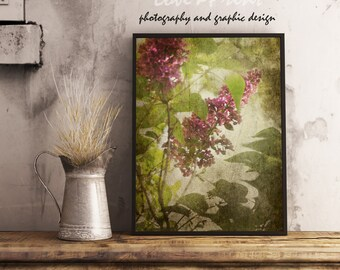 Floral wall art violet green Flowers for bedroom Lilac photography Art photography nature inspired Floral print olive Livingroom wall decor