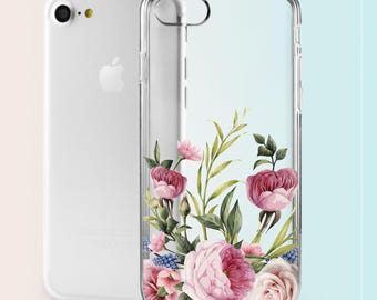 Peony Flowers iPhone 5c Case iPhone 7 Transparent Case Floral Case iPhone 7 Plus Case iPhone 6 Case iPhone Case 6s Case 7 iPhone 5 Case 034