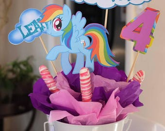 My Little Pony Rainbow Dash Birthday Decor Table Centerpiece - Sticks Only