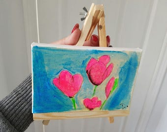 Mini Painting on Canvas and a Wooden easel.