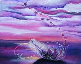 The Feather, Lost in flight, the circle of loving life-50 x 50-acrylic on canvas