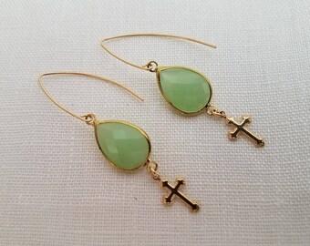 Light Green Dangle Earrings with Crosses