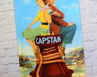 Wills's Capstan cigarette advertising cardboard sign not enamel metal mancave garage