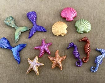 Set of 12 Mermaid Pattern Weights, Polymer Clay, Sewing Weights, Ideal gift for Seamstresses, perfect for Birthdays and Christmas