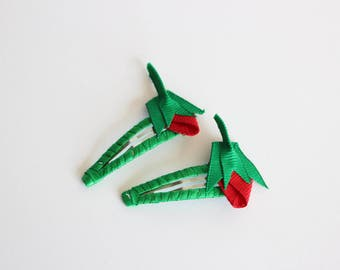 Strawberry Ribbon Hair Clips, Red and Green