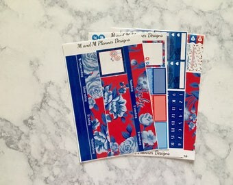 July Happy Planner Monthly View Planner Sticker Kit - Floral Freedom - Independence Day, 4th of july, red white and blue
