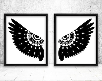 Angel Wing wall decor, Angel Wing Print, Wing Poster, Black and White Print, Black White Owl Wall Decor, Scandinavian Poster,Wings Wall Art