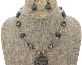 Mixed Metal Necklace and Earrings Set