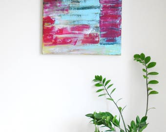 Abstract painting 'Patch' ORIGINAL, acrylic on canvas, free shipping, pink, light blue, yellow, black, abstract pattern