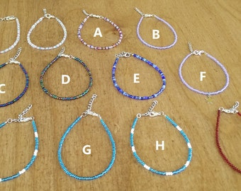 Single layer seed bead bracelet - Various colors