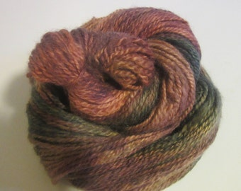 Hand dyed and spun, 100% Wool 2-ply yarn, 4.2 oz, 200 yds