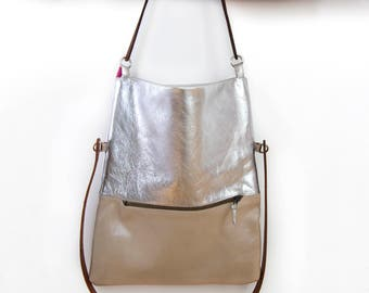 Tote bag, tote bag, leather, lined, two ways to wear silver, metallic,