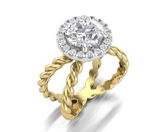 Round Moissanite Diamond Halo Engagement Ring - Forever One Moissanite Yellow Gold Halo Ring - Charles & Colvard 1.50ct Moissanite Ring
