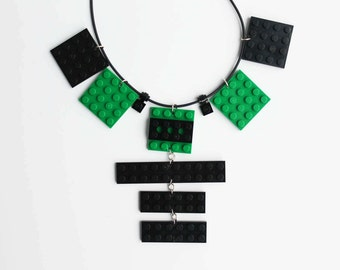 Green and Black Statement Necklace