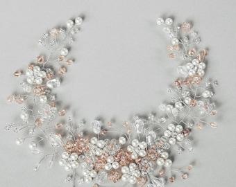 Bridal Pink and White Vine | Bridal Hair Vine | Wedding accessories | Bridal Crystal Vine | Bridal Headpiece | Wedding | Bridal HairPiece