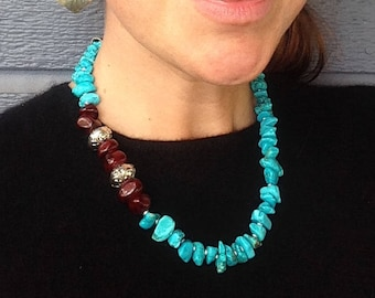 Bold, chunky, turquoise necklace