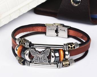 MKD Butterfly  Braided buckle Leather Bracelets