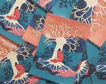 Dragon Poster Tree of Life Wall Art Illustration Print Geek gift - Art Print x1