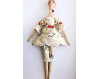 Tilda Red Roses Dress Doll Home Decor Gift for Her