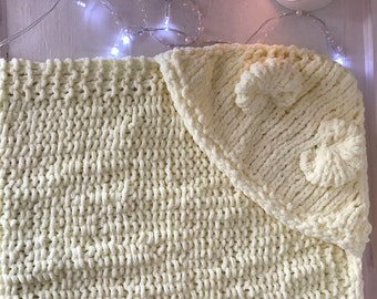 Hand knitted bear hooded yellow baby blanket