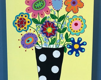 Funky Flowers Acrylic Painting