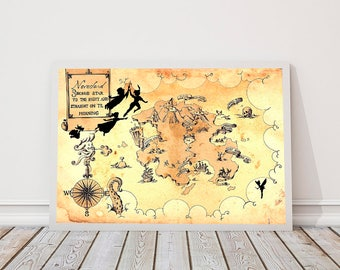 Neverland Map, Peter Pan, Peter pan nursery, second star to the rigth and straigth on til morning, Captain Hook Print, James Matthew Barrie
