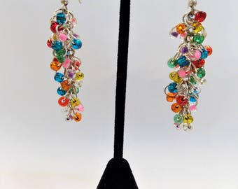 Bright Rainbow Seed Bead Cluster Earrings