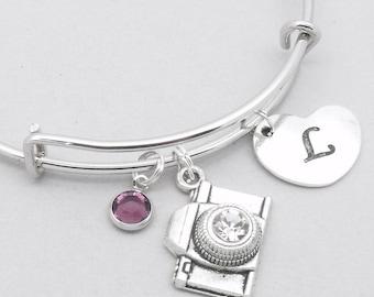 Camera with crystal lens heart initial charm bracelet   camera bangle   personalised camera bracelet   camera jewelry   camera gift