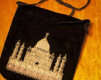 Vintage Taj Mahal hand embroidered in gold threads black velvet evening bag