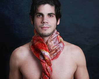 Silk scarf element fire, Nuno scarf, felt scarf, silk, wool