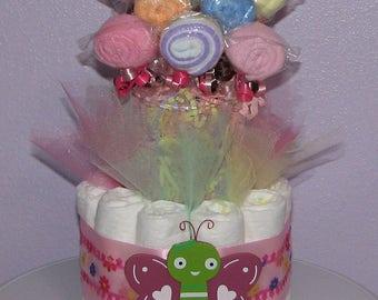 Washcloth Lollipop Diaper Bouquet - Baby Shower Table Centerpiece