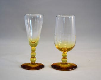 Free Shipping! Vintage Amber/clear Brandy Shot Glasses