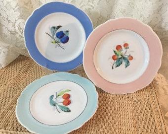 Vintage 7 Inch Porcelain Plates Displaying Various Fruits - Set of 3
