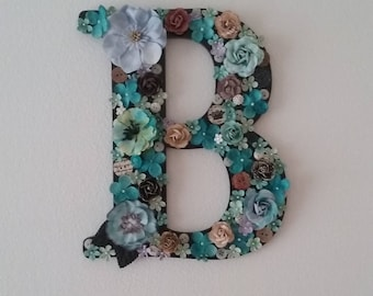 Vintage Flower Initial Customizable