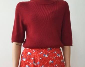 Hez Berlin – 90s Women's Sweater Knit Wear Red Short Sleeve M/L Size Pullover Mock Neck Vintage European Germany Fashion
