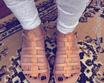 Gladiator Sandals, Greek Lather Sandals, Leather Sandals, Greek Sandals, Brown Sandals, Ancient Sandals, Made in Greece, Handmade Sandals