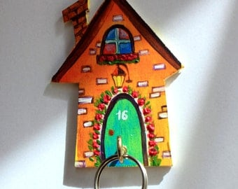 Jewelry hanger or Key Holder/Hanger for keys/Jewelry Display/Miniature house/Home Decor/Wall Key Holder/ Wood Wall Art