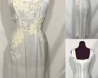 1960's | Janet Juniors | white floral day dress
