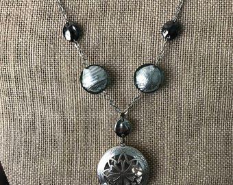 Antique Silver - Dark Teal - Large Locket