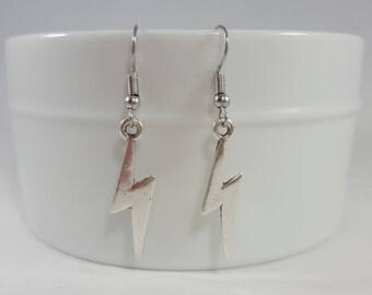 Lightning Earrings - Lightning Bolt Earrings - Silver Lightning - The Flash Earrings - Thunderbolt Earrings