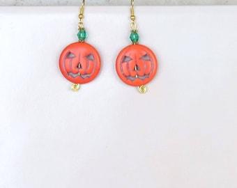 Earrings Halloween Jack-o'-Lantern Pumpkin