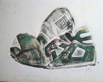 Shoe green printing, Chine Colle - collectable art / Green shoe print, Chine Colle - Collectible Art