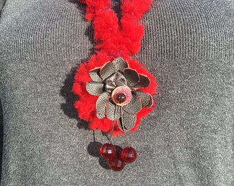 Rosie Red Leather flower Lagenlook Pendant Gift with box