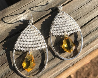 Sterling Silver Teardrop Hoop Earrings, Swarovski Crystal